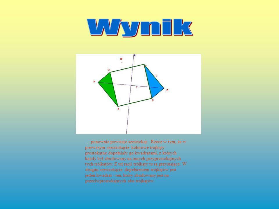 … ponownie powstaje sześciokąt. Rzecz w tym, że w pierwszym sześciokącie kolorowe trójkąty prostokątne dopełniały go kwadratami, z których każdy był z