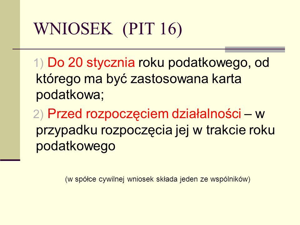 WNIOSEK (PIT 16) 1) Do 20 stycznia roku podatkowego, od którego ma być zastosowana karta podatkowa; 2) Przed rozpoczęciem działalności – w przypadku r
