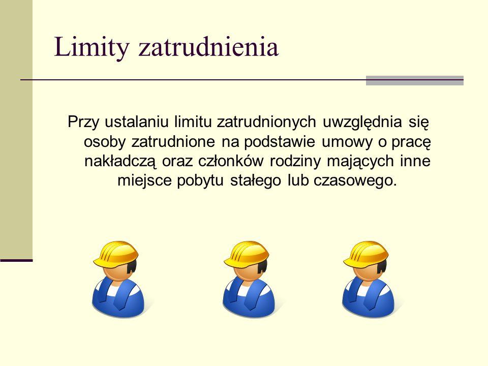 Limity zatrudnienia Przy ustalaniu limitu zatrudnionych uwzględnia się osoby zatrudnione na podstawie umowy o pracę nakładczą oraz członków rodziny ma