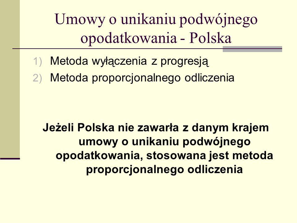Umowy o unikaniu podwójnego opodatkowania - Polska 1) Metoda wyłączenia z progresją 2) Metoda proporcjonalnego odliczenia Jeżeli Polska nie zawarła z
