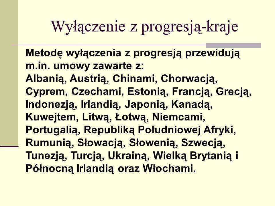 Wyłączenie z progresją-kraje Metodę wyłączenia z progresją przewidują m.in. umowy zawarte z: Albanią, Austrią, Chinami, Chorwacją, Cyprem, Czechami, E