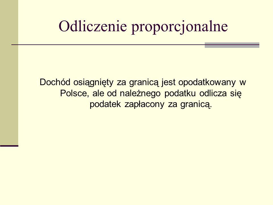Odliczenie proporcjonalne Dochód osiągnięty za granicą jest opodatkowany w Polsce, ale od należnego podatku odlicza się podatek zapłacony za granicą.