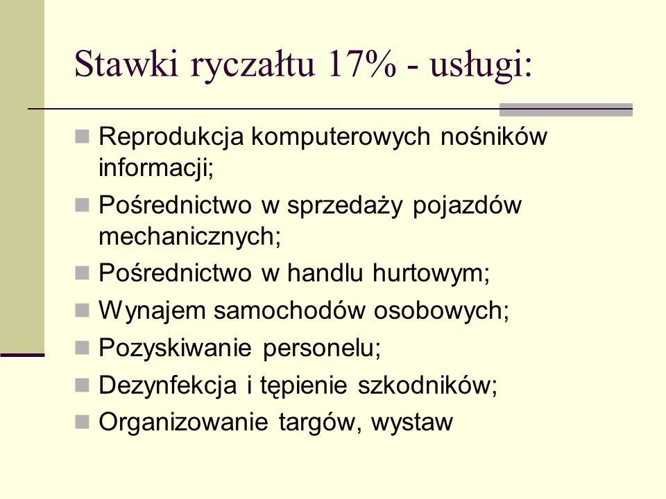 Stawki ryczałtu 17% - usługi: Reprodukcja komputerowych nośników informacji; Pośrednictwo w sprzedaży pojazdów mechanicznych; Pośrednictwo w handlu hu