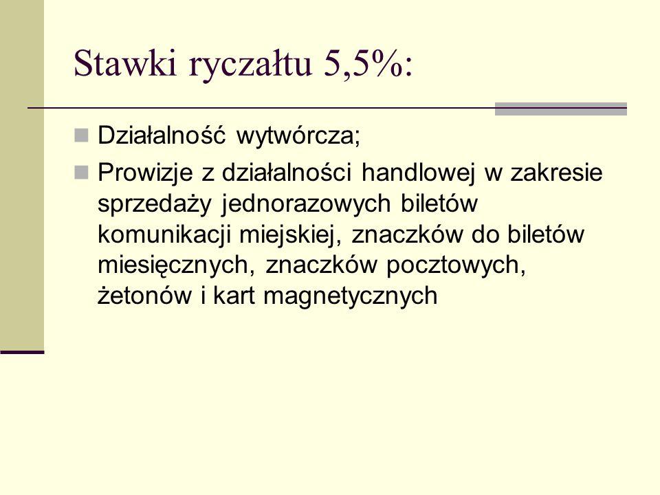 Stawki ryczałtu 5,5%: Działalność wytwórcza; Prowizje z działalności handlowej w zakresie sprzedaży jednorazowych biletów komunikacji miejskiej, znacz