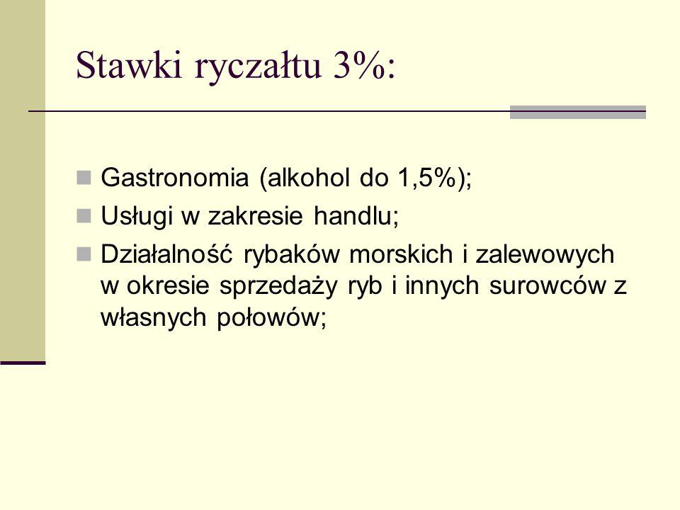 Stawki ryczałtu 3%: Gastronomia (alkohol do 1,5%); Usługi w zakresie handlu; Działalność rybaków morskich i zalewowych w okresie sprzedaży ryb i innyc