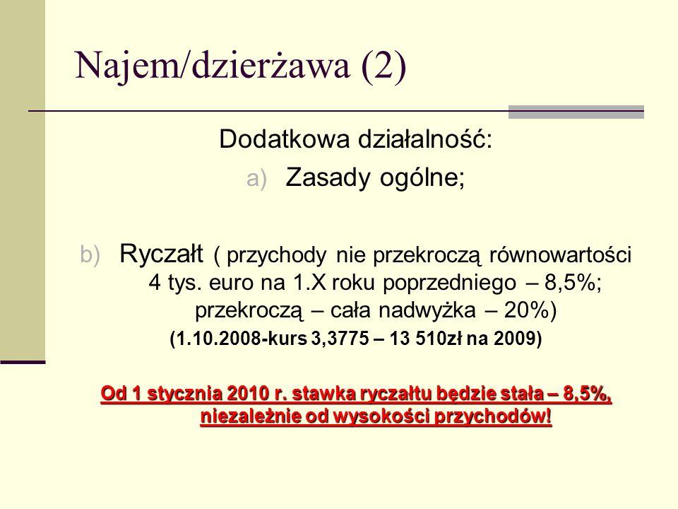 Najem/dzierżawa (2) Dodatkowa działalność: a) Zasady ogólne; b) Ryczałt ( przychody nie przekroczą równowartości 4 tys. euro na 1.X roku poprzedniego