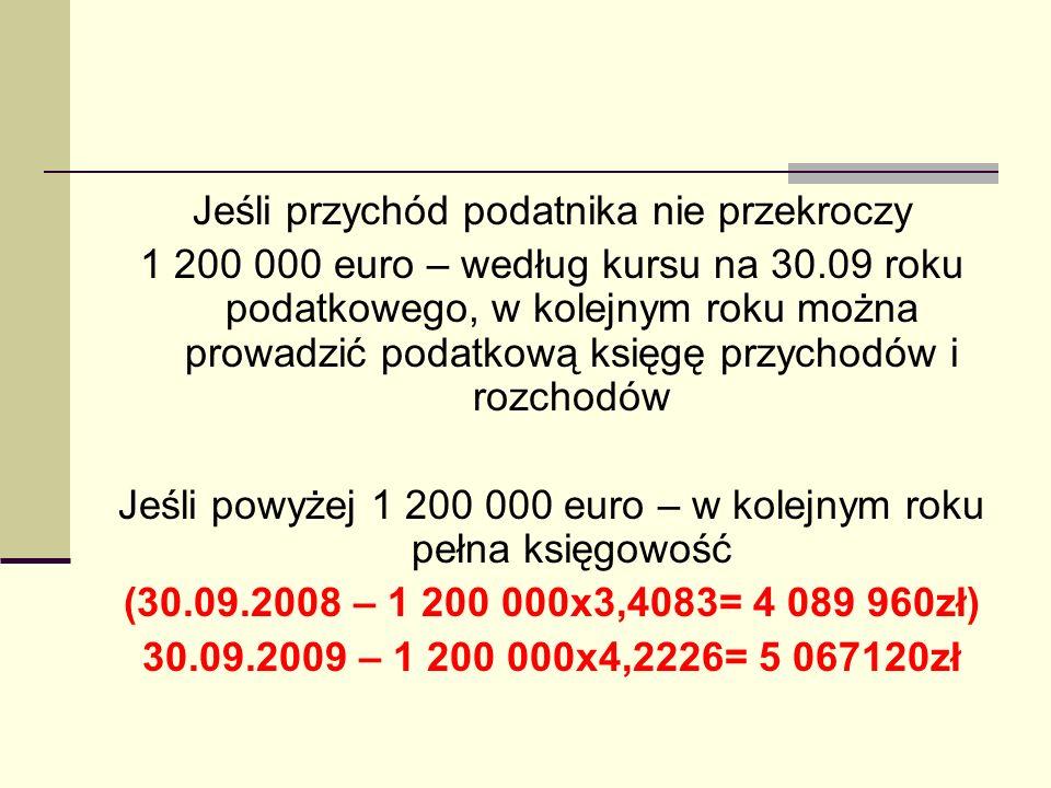 Jeśli przychód podatnika nie przekroczy 1 200 000 euro – według kursu na 30.09 roku podatkowego, w kolejnym roku można prowadzić podatkową księgę przy