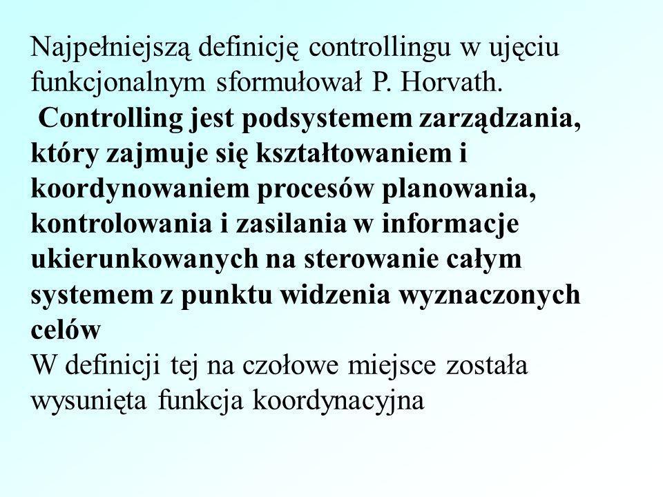 Najpełniejszą definicję controllingu w ujęciu funkcjonalnym sformułował P. Horvath. Controlling jest podsystemem zarządzania, który zajmuje się kształ