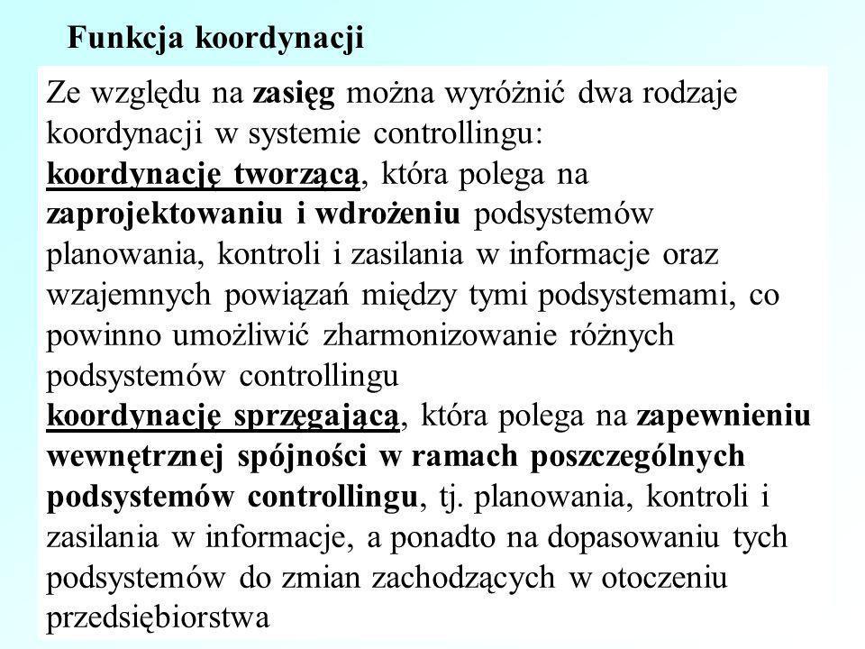 Ze względu na zasięg można wyróżnić dwa rodzaje koordynacji w systemie controllingu: koordynację tworzącą, która polega na zaprojektowaniu i wdrożeniu
