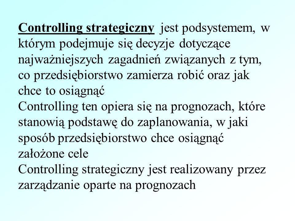 Controlling strategiczny jest podsystemem, w którym podejmuje się decyzje dotyczące najważniejszych zagadnień związanych z tym, co przedsiębiorstwo za