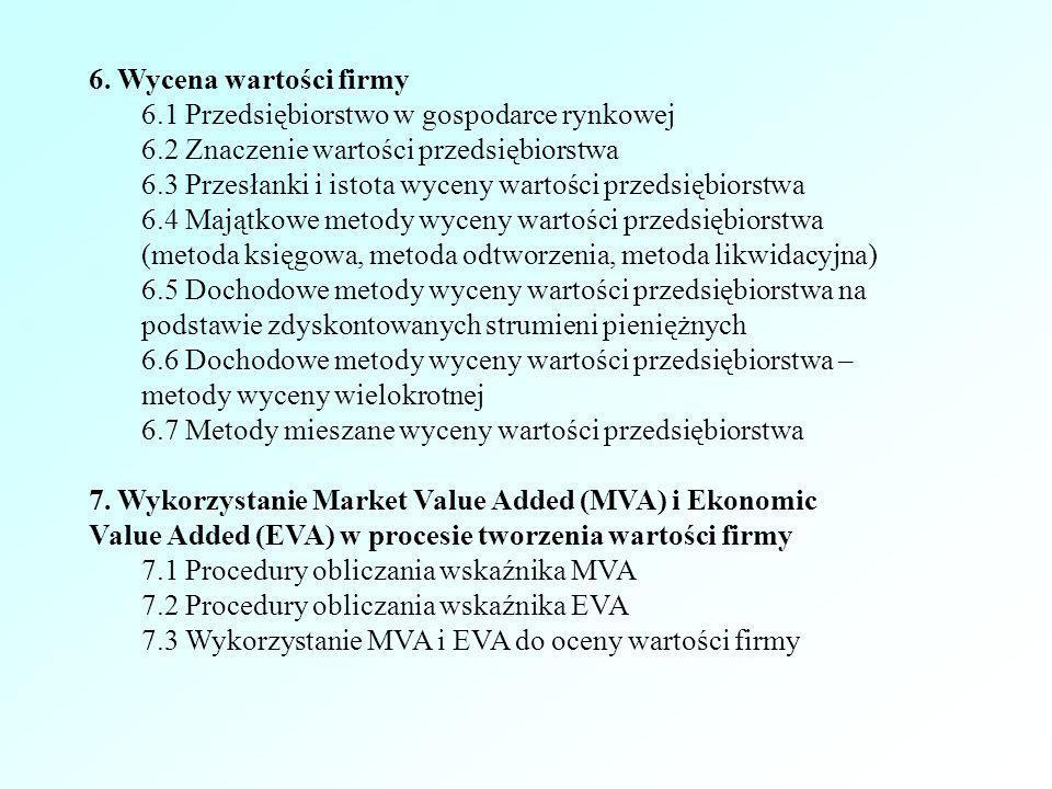 6. Wycena wartości firmy 6.1 Przedsiębiorstwo w gospodarce rynkowej 6.2 Znaczenie wartości przedsiębiorstwa 6.3 Przesłanki i istota wyceny wartości pr