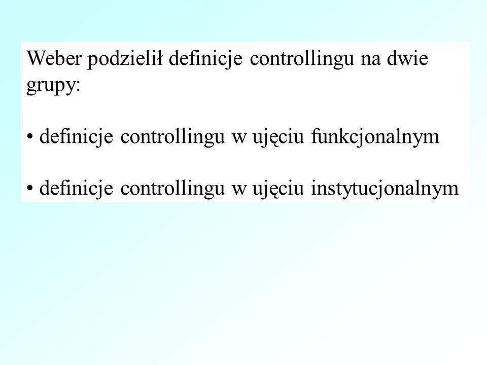 Weber podzielił definicje controllingu na dwie grupy: definicje controllingu w ujęciu funkcjonalnym definicje controllingu w ujęciu instytucjonalnym