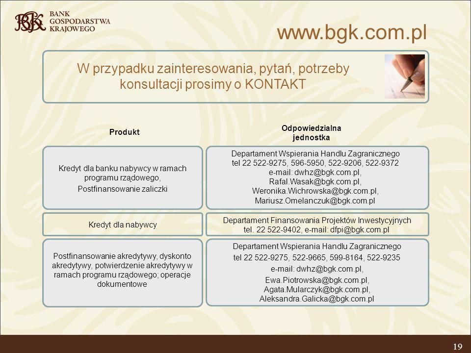 19 W przypadku zainteresowania, pytań, potrzeby konsultacji prosimy o KONTAKT Kredyt dla banku nabywcy w ramach programu rządowego, Postfinansowanie z