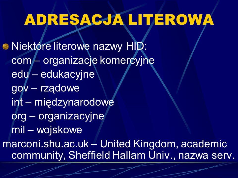 ADRESACJA LITEROWA Niektóre literowe nazwy HID: com – organizacje komercyjne edu – edukacyjne gov – rządowe int – międzynarodowe org – organizacyjne m