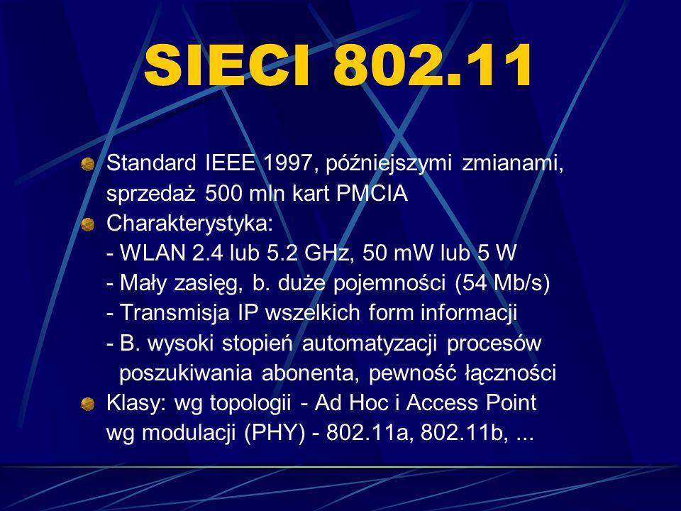 SIECI 802.11 Standard IEEE 1997, późniejszymi zmianami, sprzedaż 500 mln kart PMCIA Charakterystyka: - WLAN 2.4 lub 5.2 GHz, 50 mW lub 5 W - Mały zasi