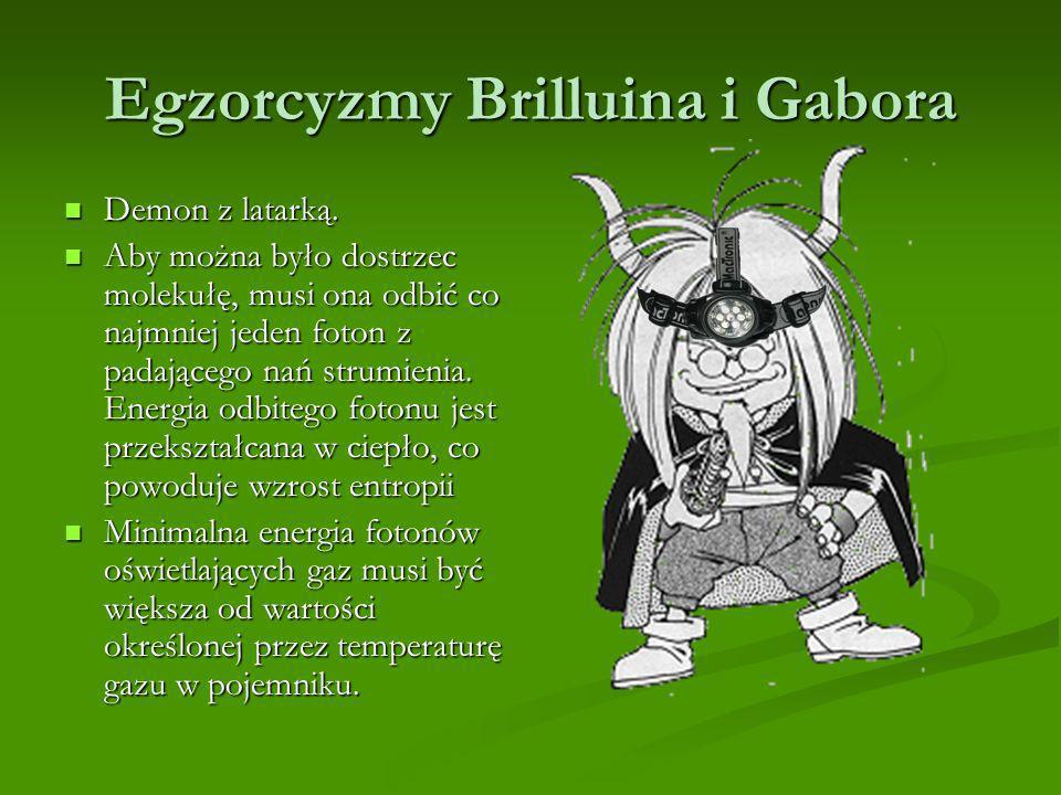 Egzorcyzmy Brilluina i Gabora Demon z latarką. Demon z latarką. Aby można było dostrzec molekułę, musi ona odbić co najmniej jeden foton z padającego