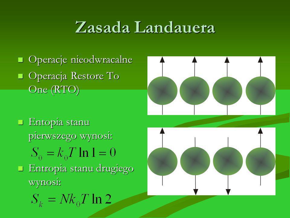Zasada Landauera Operacje nieodwracalne Operacje nieodwracalne Operacja Restore To One (RTO) Operacja Restore To One (RTO) Entopia stanu pierwszego wy