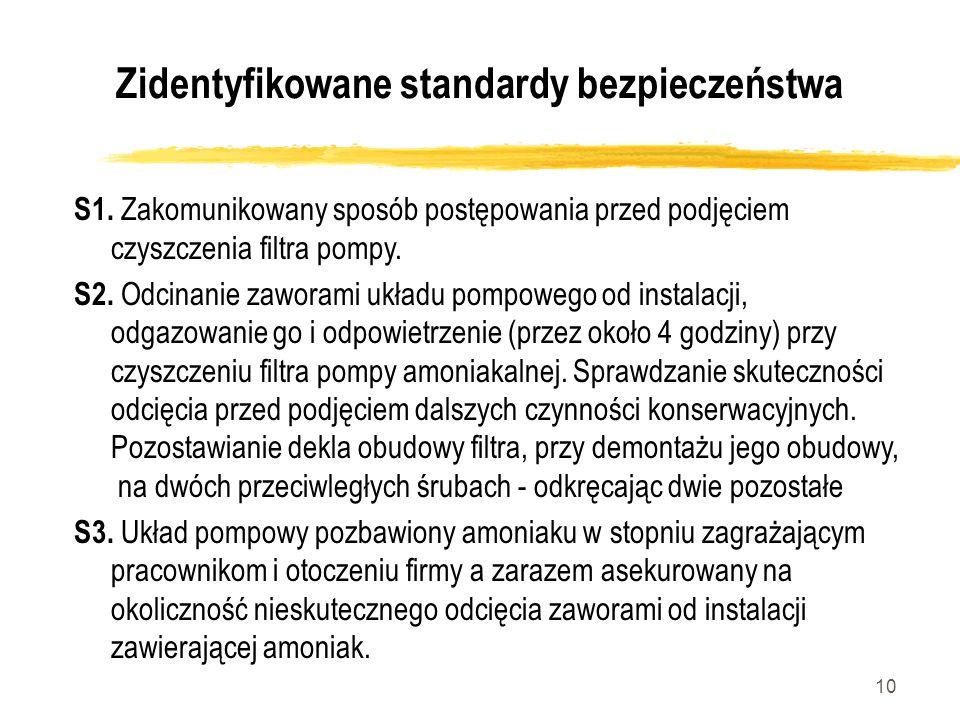 10 Zidentyfikowane standardy bezpieczeństwa S1. Zakomunikowany sposób postępowania przed podjęciem czyszczenia filtra pompy. S2. Odcinanie zaworami uk