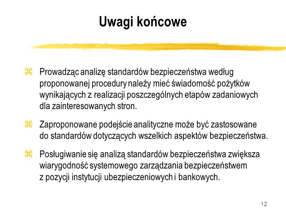 12 Uwagi końcowe zProwadząc analizę standardów bezpieczeństwa według proponowanej procedury należy mieć świadomość pożytków wynikających z realizacji