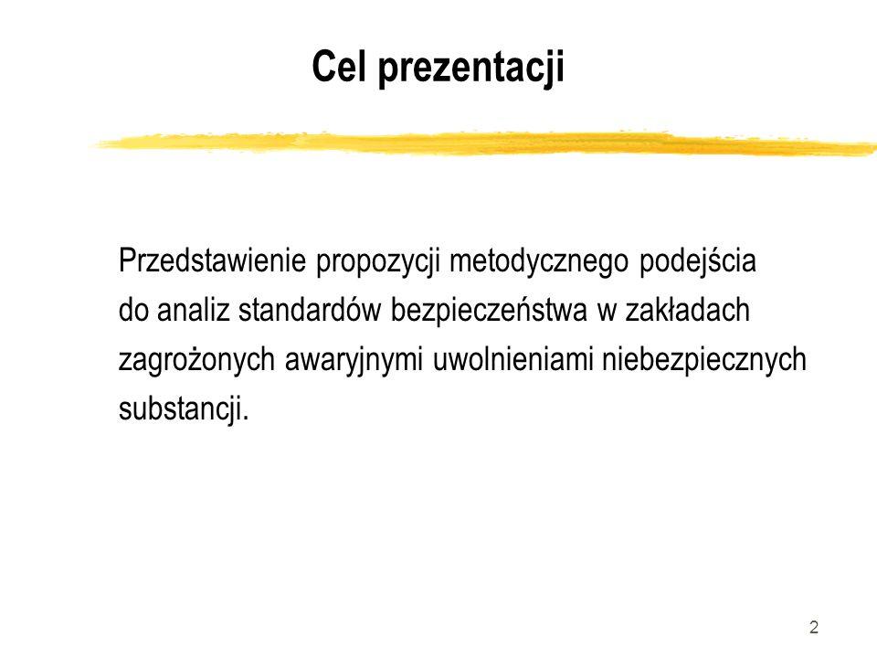 2 Cel prezentacji Przedstawienie propozycji metodycznego podejścia do analiz standardów bezpieczeństwa w zakładach zagrożonych awaryjnymi uwolnieniami