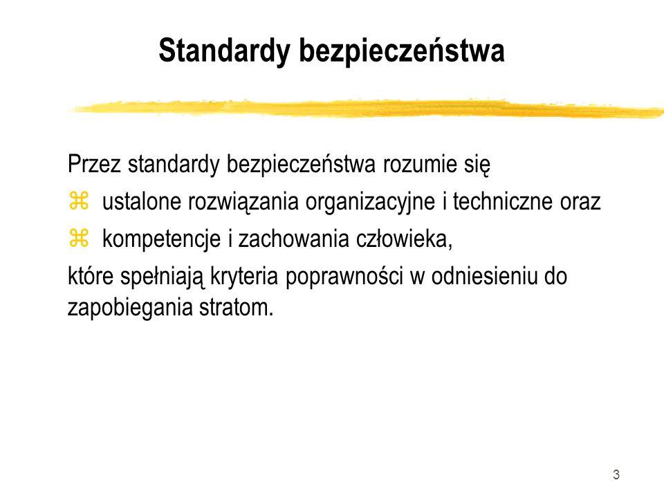 3 Standardy bezpieczeństwa Przez standardy bezpieczeństwa rozumie się z ustalone rozwiązania organizacyjne i techniczne oraz z kompetencje i zachowani