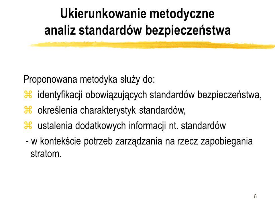 6 Ukierunkowanie metodyczne analiz standardów bezpieczeństwa Proponowana metodyka służy do: z identyfikacji obowiązujących standardów bezpieczeństwa,