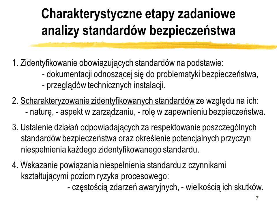 7 Charakterystyczne etapy zadaniowe analizy standardów bezpieczeństwa 1. Zidentyfikowanie obowiązujących standardów na podstawie: - dokumentacji odnos