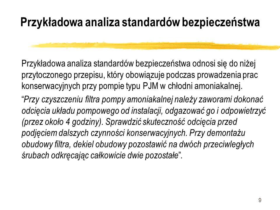 9 Przykładowa analiza standardów bezpieczeństwa Przykładowa analiza standardów bezpieczeństwa odnosi się do niżej przytoczonego przepisu, który obowią