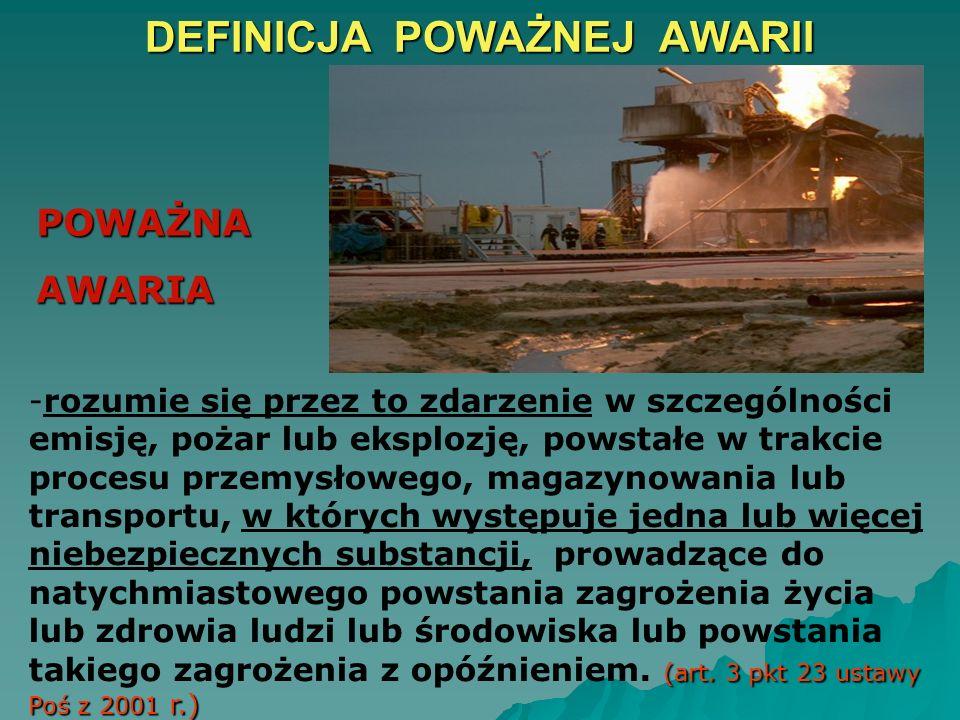 CELE DYREKTYWY SEVESO II 1. Przeciwdziałanie poważnym awariom z udziałem substancji niebezpiecznych. 2. Ograniczenie skutków dla ludzi i środowiska. 3