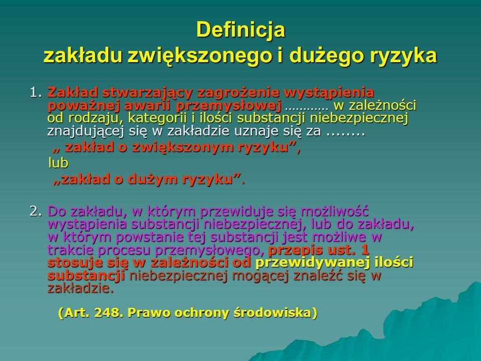DEFINICJA POWAŻNEJ AWARII (art. 3 pkt 23 ustawy Poś z 2001 r.) -rozumie się przez to zdarzenie w szczególności emisję, pożar lub eksplozję, powstałe w