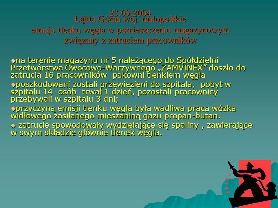 11.08.2004 Opoka woj. lubelskie Zanieczyszczenie wód rzeki Kurówki związane ze śnięciem ryb. nastąpiło zanieczyszczenie wód rzeki Kurówki, związane ze