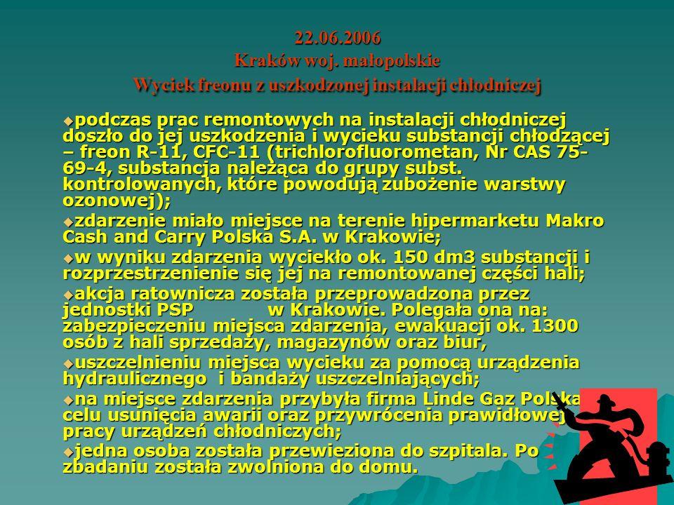12.05.2006 Ustka woj. pomorskie Wyciek amoniaku z rozszczelnionej instalacji chłodniczej w wyniku awarii. w wyniku awarii instalacji chłodniczej doszł