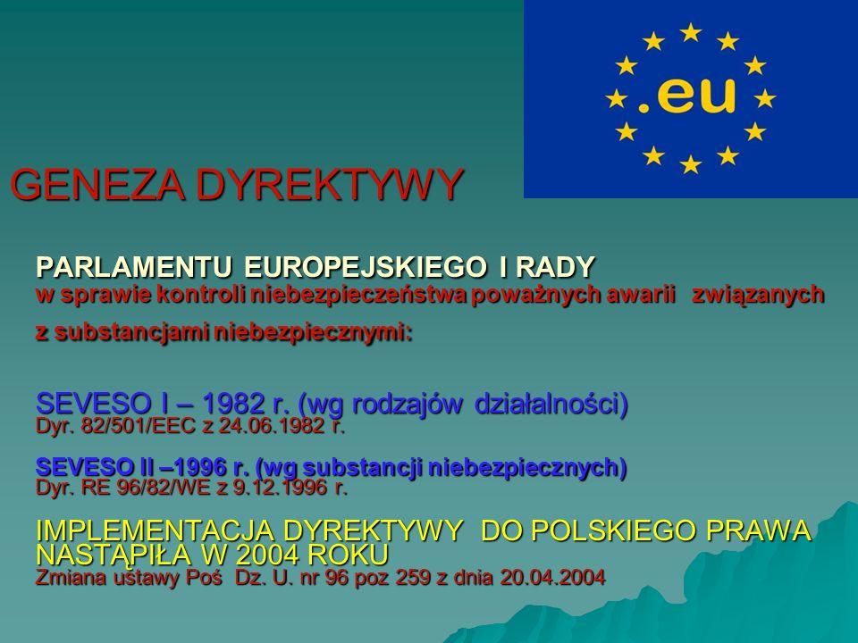 PARLAMENTU EUROPEJSKIEGO I RADY w sprawie kontroli niebezpieczeństwa poważnych awarii związanych z substancjami niebezpiecznymi: SEVESO I – 1982 r.