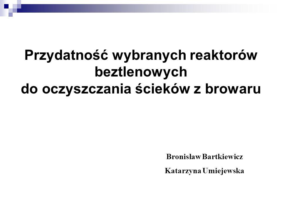 Przydatność wybranych reaktorów beztlenowych do oczyszczania ścieków z browaru Bronisław Bartkiewicz Katarzyna Umiejewska