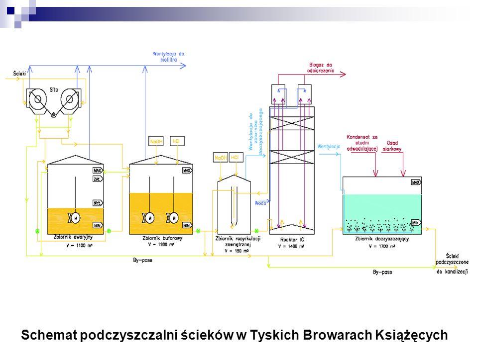 Schemat podczyszczalni ścieków w Tyskich Browarach Książęcych