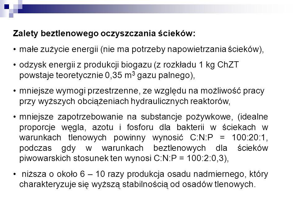 Zalety beztlenowego oczyszczania ścieków: małe zużycie energii (nie ma potrzeby napowietrzania ścieków), odzysk energii z produkcji biogazu (z rozkład