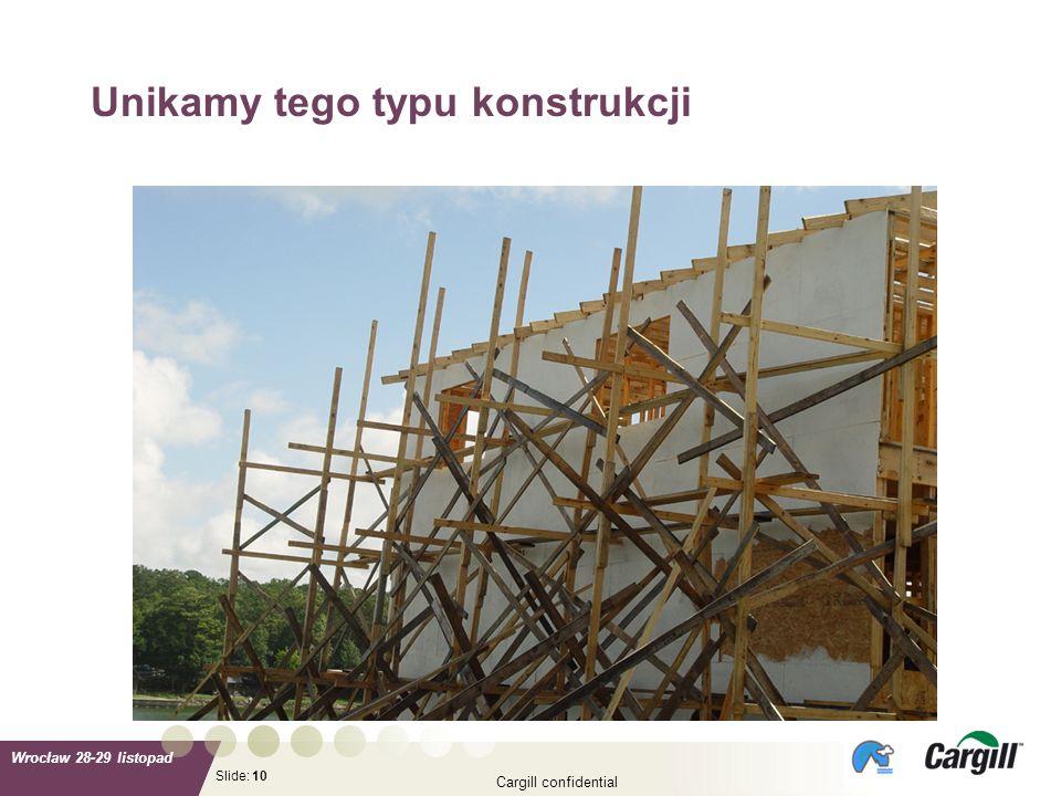 Slide: Wrocław 28-29 listopad Cargill confidential 10 Unikamy tego typu konstrukcji