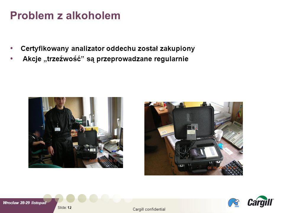 Slide: Wrocław 28-29 listopad Cargill confidential 12 Certyfikowany analizator oddechu został zakupiony Akcje trzeźwość są przeprowadzane regularnie P