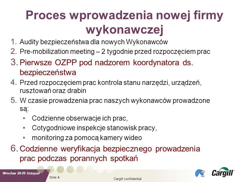 Slide: Wrocław 28-29 listopad Cargill confidential 4 1. Audity bezpieczeństwa dla nowych Wykonawców 2. Pre-mobilization meeting – 2 tygodnie przed roz