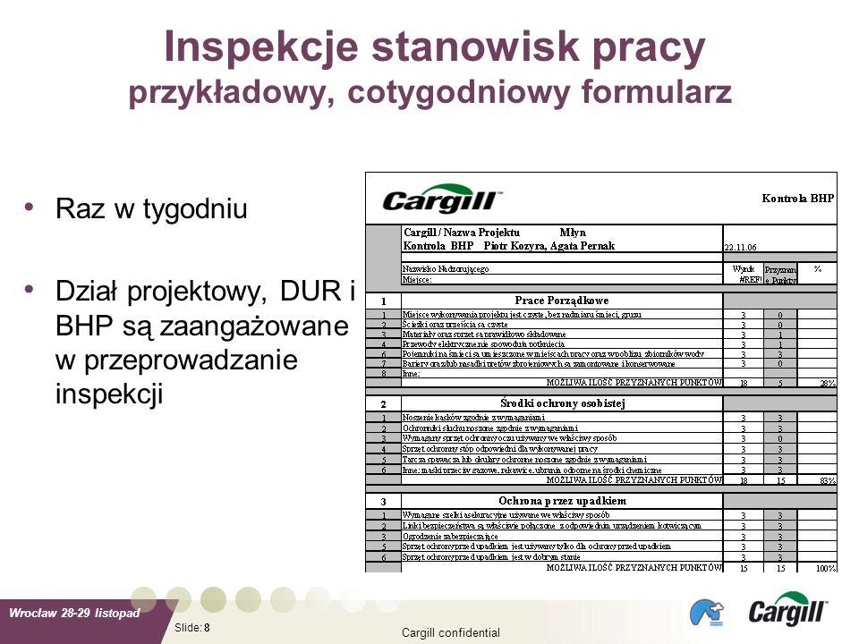 Slide: Wrocław 28-29 listopad Cargill confidential 8 Inspekcje stanowisk pracy przykładowy, cotygodniowy formularz Raz w tygodniu Dział projektowy, DU
