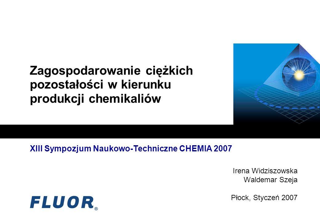 XIII Sympozjum Naukowo-Techniczne CHEMIA 2007 Irena Widziszowska Waldemar Szeja Płock, Styczeń 2007 Zagospodarowanie ciężkich pozostałości w kierunku