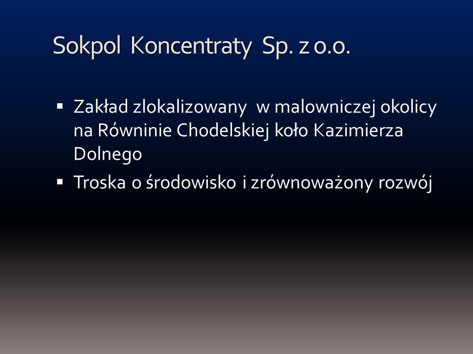 Sokpol Koncentraty Sp. z o.o. Zakład zlokalizowany w malowniczej okolicy na Równinie Chodelskiej koło Kazimierza Dolnego Troska o środowisko i zrównow