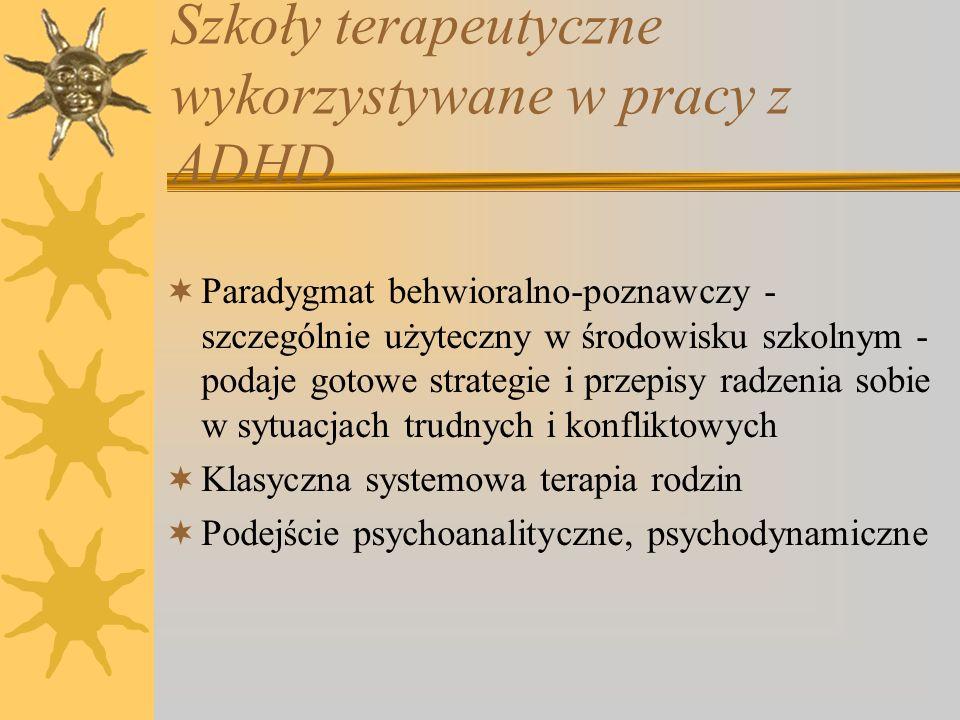 Szkoły terapeutyczne wykorzystywane w pracy z ADHD Paradygmat behwioralno-poznawczy - szczególnie użyteczny w środowisku szkolnym - podaje gotowe stra