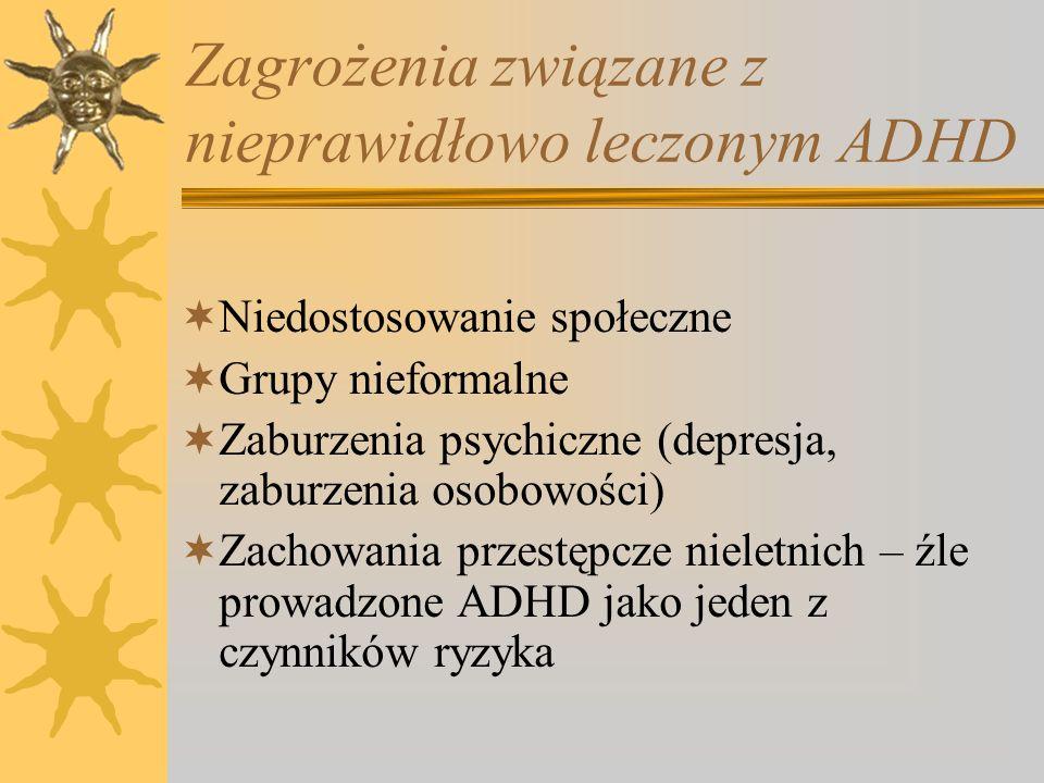Zagrożenia związane z nieprawidłowo leczonym ADHD Niedostosowanie społeczne Grupy nieformalne Zaburzenia psychiczne (depresja, zaburzenia osobowości)