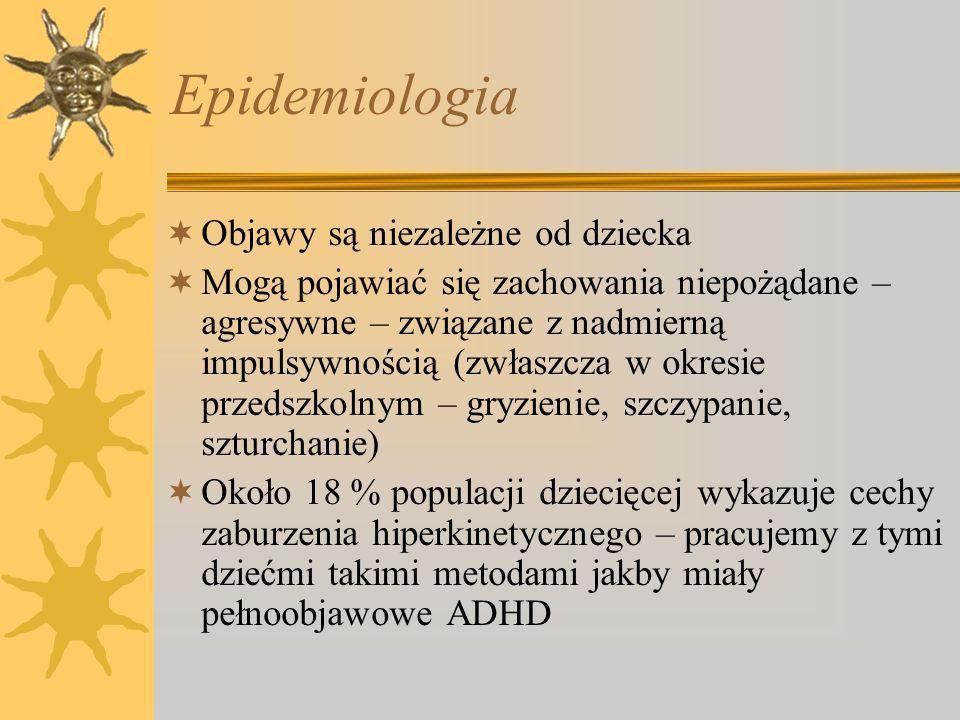 Epidemiologia Objawy są niezależne od dziecka Mogą pojawiać się zachowania niepożądane – agresywne – związane z nadmierną impulsywnością (zwłaszcza w