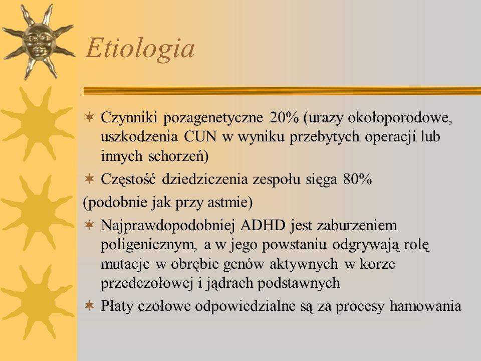 Etiologia Czynniki pozagenetyczne 20% (urazy okołoporodowe, uszkodzenia CUN w wyniku przebytych operacji lub innych schorzeń) Częstość dziedziczenia z