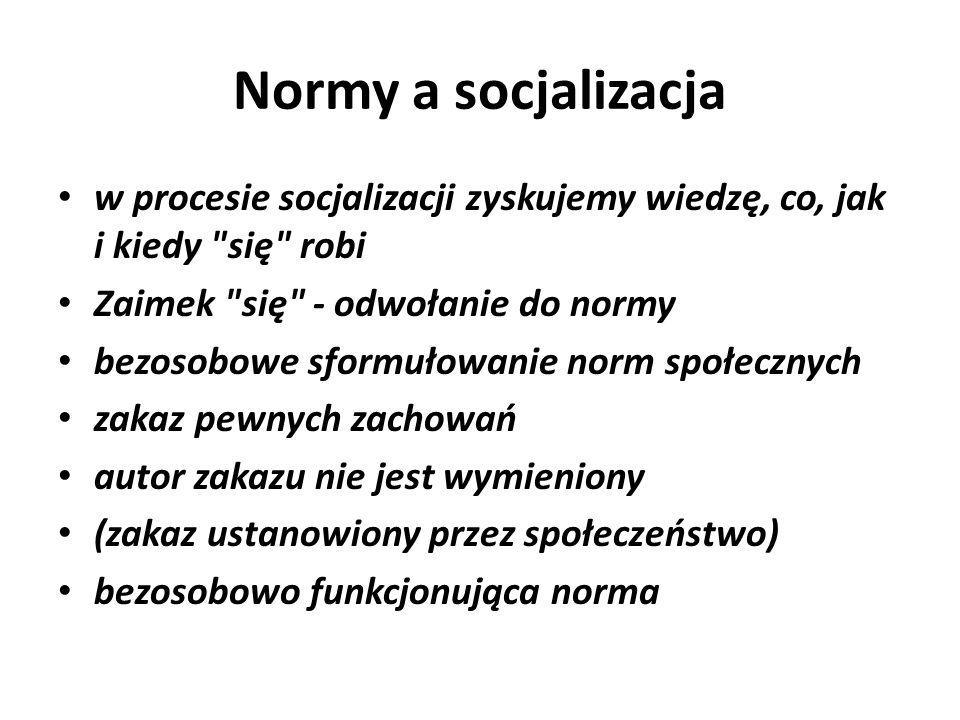Normy a socjalizacja w procesie socjalizacji zyskujemy wiedzę, co, jak i kiedy