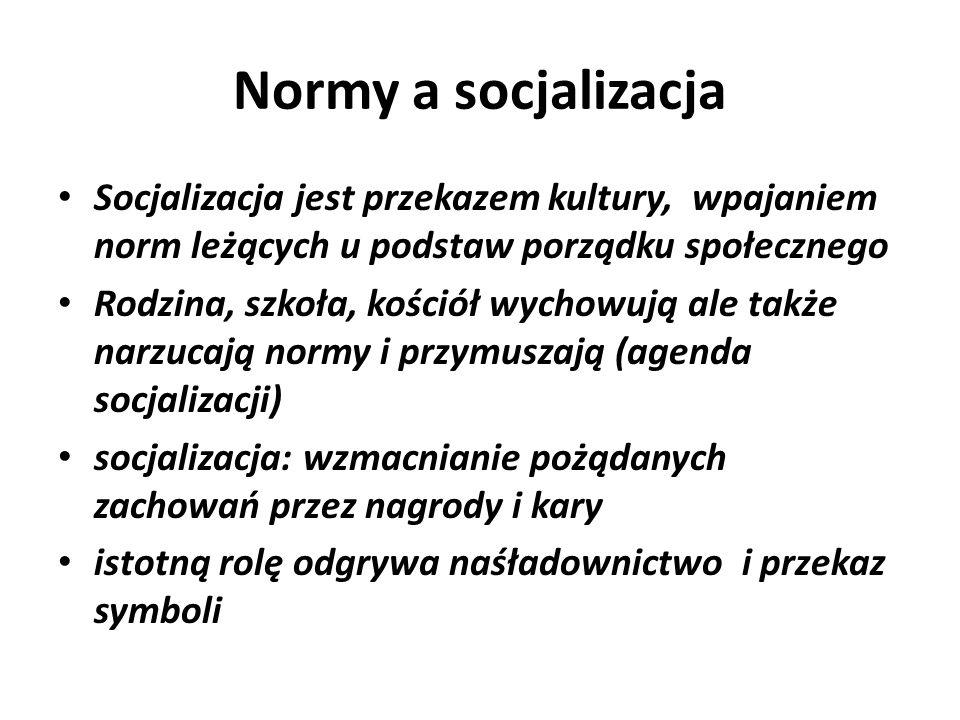 Normy a socjalizacja Socjalizacja jest przekazem kultury, wpajaniem norm leżących u podstaw porządku społecznego Rodzina, szkoła, kościół wychowują al