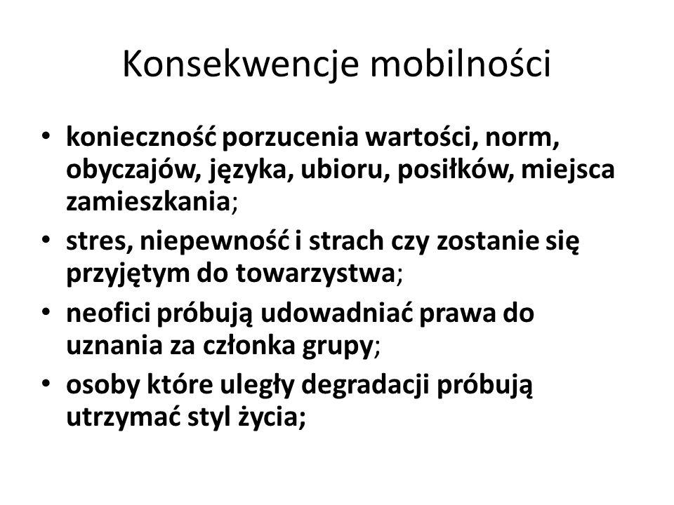 Konsekwencje mobilności konieczność porzucenia wartości, norm, obyczajów, języka, ubioru, posiłków, miejsca zamieszkania; stres, niepewność i strach c