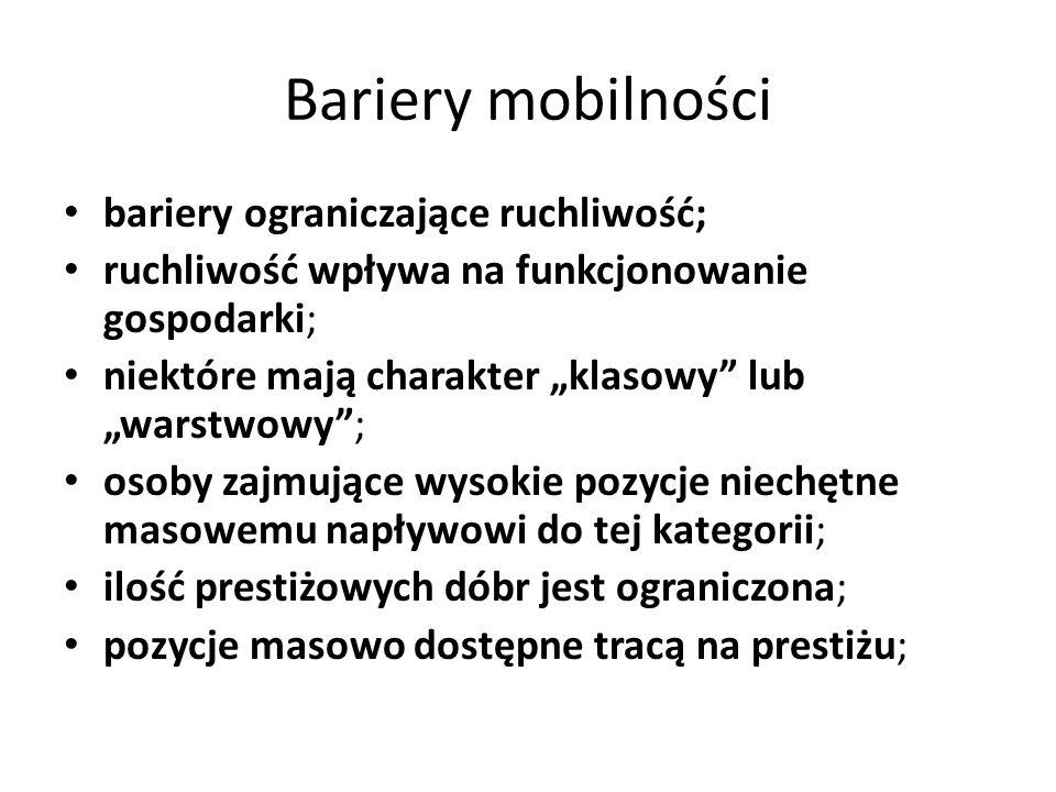 Bariery mobilności bariery ograniczające ruchliwość; ruchliwość wpływa na funkcjonowanie gospodarki; niektóre mają charakter klasowy lub warstwowy; os